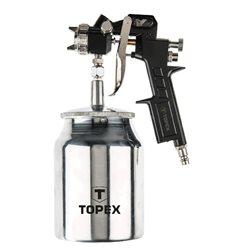 Краскопульт TOPEX пневматический,  нижний бачок 1.0 л., сопло 1,5 мм, 4 бар, 75 - 230 л/мин., двойная регулировка, CE