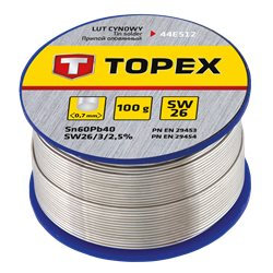 Припой TOPEX оловянный 60% Sn, проволока 0.7 мм, 100 г