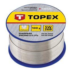 Припой TOPEX оловянный 60% Sn, проволока 1.5 мм, 100 г