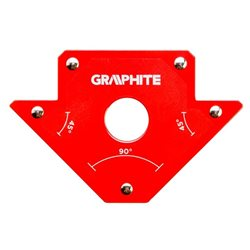 Cварочный угольник магнитный GRAPHITE 56H902, 102 x 155 x 17 мм, угол 45 или 90 град., сила 11.4 кг