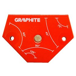 Cварочный угольник магнитный GRAPHITE 56H904, 64x95x14мм, угол 45, 60, 75, 90, 135град.,сила 11,4 кг